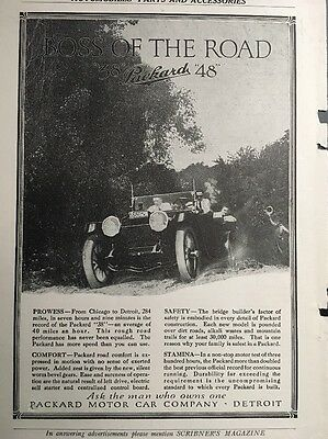 """1914 Packard Ad """"Boss Of The Road"""" Original  Ad"""
