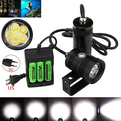 10000Lm 6x XM-L2  LED Scuba Diving Flashlight Torch 3x18650 lamp Underwater 150m