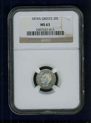 Greece Kingdom  1874  20 Lepta Coin, Choice Uncirculated,  Certified Ngc Ms63