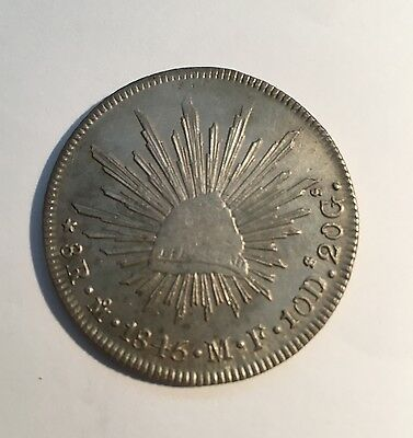MEXICO - MEXICO CITY MINT 1845-MoMF 8 REALES SILVER COIN, ALMOST UNCIRCULATED