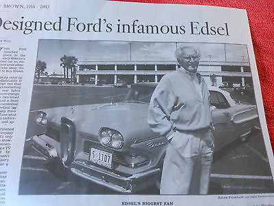 1916-2013 Roy Brown Obituary Designed Ford's Infamous Edsel