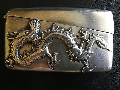 19Th Century China Chinese Tuck Chang Hallmark Dragon Solid Silver Card Case 纯银盒