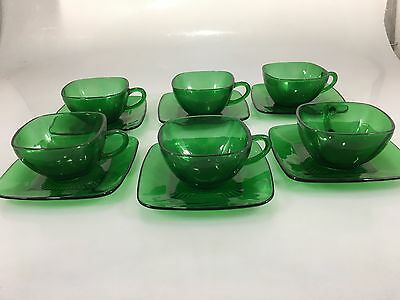 Anchor Hocking Fire King Set of 6 Forest Green Charm Square Cups Saucers Vintage
