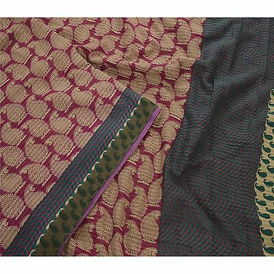 Sanskriti Vintage 100% Pure Cotton Saree Purple Printed Sari Craft 5 Yard Fabric