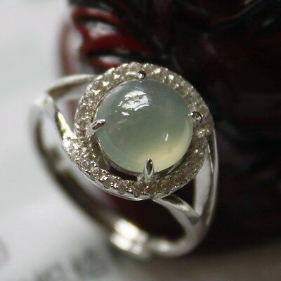 Size 5 1/4 ** CERTIFIED Natural (A) Untreated Jadeite JADE 925 Silver Ring #S003