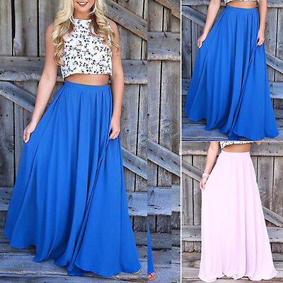 Retro Summer Women's Chiffon Casual Pleated Long Maxi Dress Elastic Waist Skirt