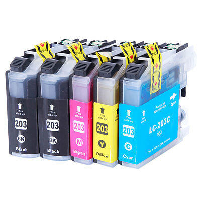 5PK LC203 XL High Yield Compatible Ink Cartridges for Brother MFC-J460DW J480DW