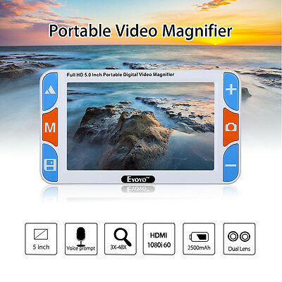 """5.0"""" Color Screen Video Digital Magnifier Electronic Reading Aid Low Vision Care"""