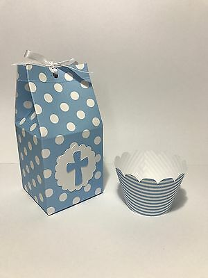 12 Holy Communion Christening Individual Blue Favour Cupcake Boxes With Wrappers