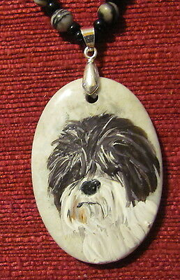 Petit Basset Griffon Vendeen hand painted on oval gemstone pendant/bead/necklace