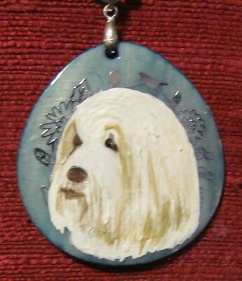 Bearded Collie hand painted on somewhat round Mother of Pearl pendant/bead/neckl