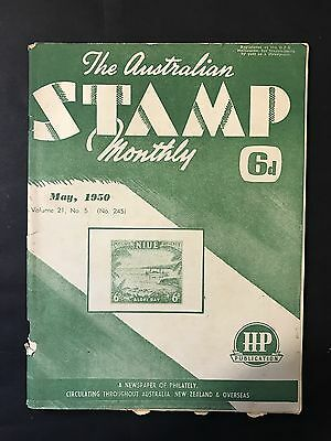 Vintage AUSTRALIAN STAMP MONTHLY Vol 21 No 5, May 1950 Newspaper of Philately