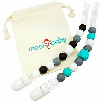 Silicone Pacifier Clips with Bag - 2 Pack - for Teething Baby Boy - BPA-Free