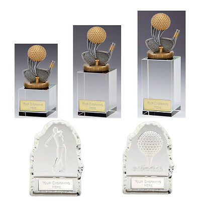 Glass Golf Trophies - Complete Pack with Free Engraving (Pack C)