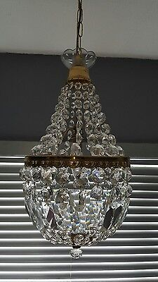 Beautiful Vintage Real Crystal Empire Bag Chandelier For a Touch of Glamour