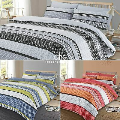 Duvet Cover with Pillowcase Reversible Bedding Set Lola Stripe Charcoal Grey Red