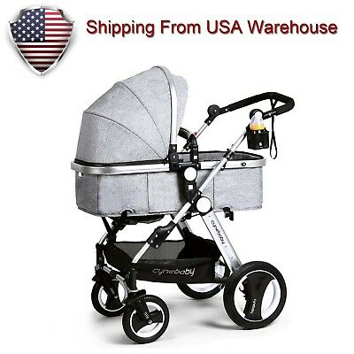 Cynebaby Baby Stroller Pram Convertible Baby Carriage Luxury High View Pushchair