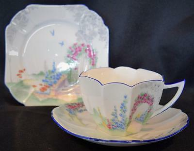Tea Cup Trio Set~Shelley Archway of Roses~Queen Anne Shape~English~c1925~#11606