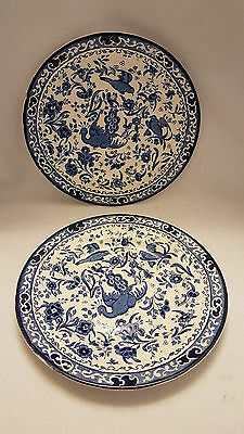 2 x BURLEIGH WARE BURSLEM BLUE BIRD 18cm side plate
