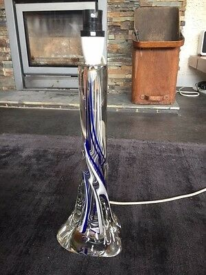 Vintage Strathearn Twisted Glass Lamp Base in Clear Blue and White Colourway