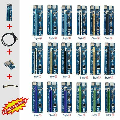 USB 3.0 PCI-E Express 1x to 16x GPU Extender Riser Card Adapter 6pin Cable 60cm