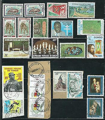 Congo People's Republic - 23 stamps mixed + S. Sheet # C239 - Years 1970 to 2005