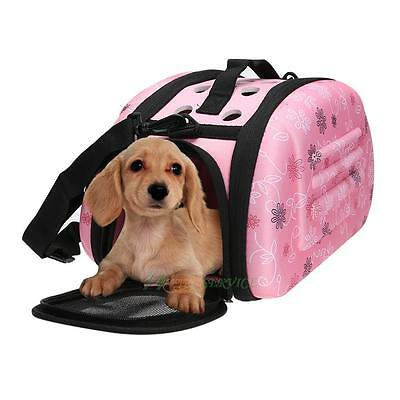 Jaula portátil gato cachorro Pet Travel Tote Shoulder Bag Cage CRATE (rosa) (S)