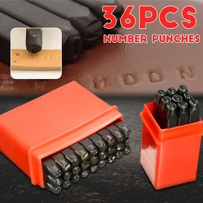 36Pcs 4mm Number Letter Alphabet Punch Metal Stamp Set Tool Kit Steel + Case
