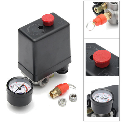 "1/4"" BSP 4 Port Air Compressor Pressure Switch Valve Control Heavy Duty 175PSI"