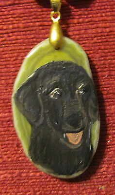 Flat coated Retriever hand painted on a freeform, yellow Agate slice pendant/bea