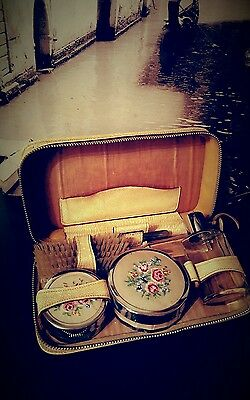 Vintage ladies travel vanity set with petit point lids brush dressing table set