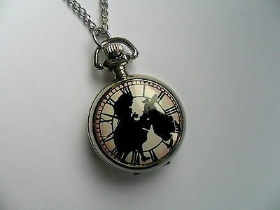 Unusual Silver Alice in Wonderland  Necklace Watch  c