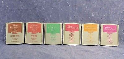 6 Stampin Up Ink Pads Lot NOS, SEALED Caramel Coral Mint Rose Apricot Pixie Pink