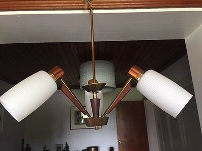 Vintage 1960s1970s Teak, Copper and Brass 3 Armed Ceiling Light - Glass Shades