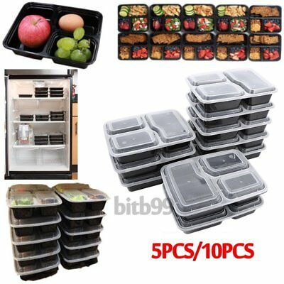 Microwavable 3 Compartment Reusable Lunch Box Bento Food Storage Container ZZ