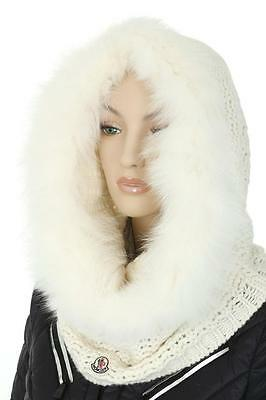 New Moncler Ladies Ivory Logo Wool Cashmere Fox Fur Hat Collar Hood Neck Warmer