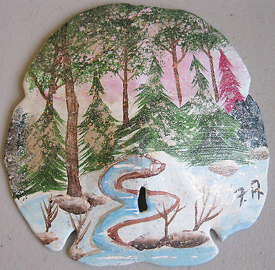 Hand Painted Sand Dollar Winter Snow Forrest Creek Trees Rocks Green Pink Blue