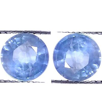 NATURAL LIGHT BLUE SAPPHIRE LOOSE GEMSTONE  (PAIR mm) ROUND SHAPE 4.1 x 4.1 mm)