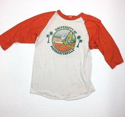 VTG '82 Jimmy Buffett Margaritaville Orange Bowl Baseball Raglan T-Shirt Torn XL
