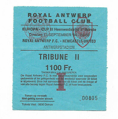 Ticket 1994/95 UEFA Cup - ROYAL ANTWERP v. NEWCASTLE UNITED