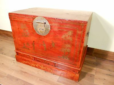 Antique Chinese Trunk (5417), Hand Painted Red Lacquer , Circa 1800-1849