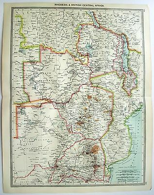 Original Map of Rhodesia & British Central Africa c1906 by George Philip