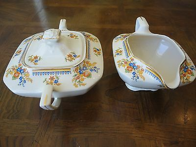Vintage! Creamer & Sugar Set Of Royal Ivory John Maddock & Sons Royal Cameronian