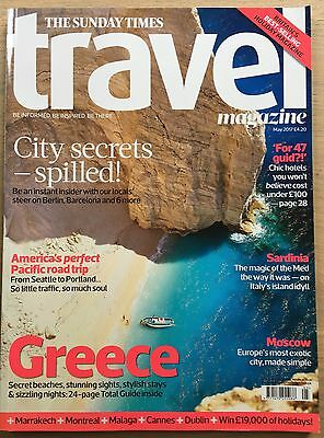 SUNDAY TIMES TRAVEL MAGAZINE MAY 2017  GREECE 24 Page Guide SARDINIA MOSCOW