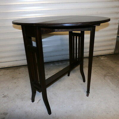 Antique Edwardian Solid Mahogany Small Sutherland Drop Leaf Table c1900-1910