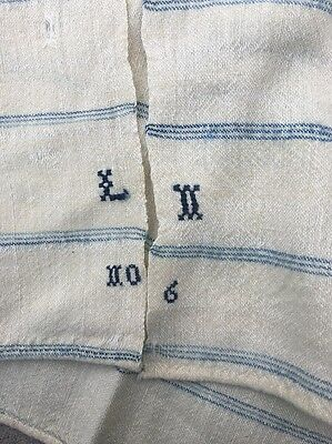 Vintage Homespun Blanket. Wool, Stripe,Hand Woven, Blue, Ivory, Monogram