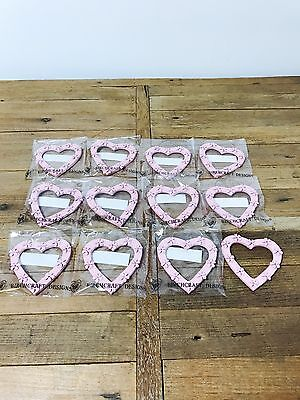 JobLot 12 Pink Shabby Chic Wooden Hanging Hearts Wholesale New Decorations