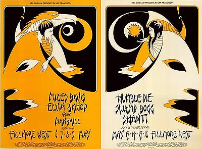 (2) MINT/ORIGINAL 1971 Fillmore Posters BG 279/280 Miles Davis Humble Pie