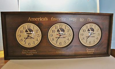 VTG Eastern Airlines Wood Wall Clock Three Time Zones Rare Aviation