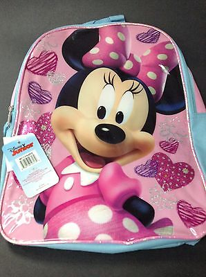 "Disney Minnie Mouse Girls 16"" x 12"" Canvas Pink School Backpack Elementary New"